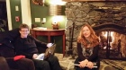 Pam, Jolene at Fireplace